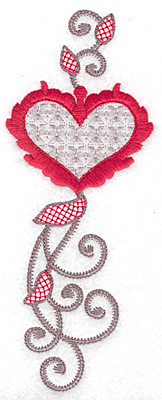Embroidery Design: Floral Heart 110 large 2.70w X 6.95h