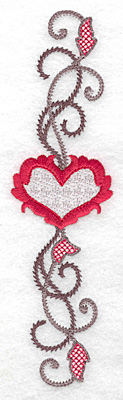 Embroidery Design: Floral Heart 111 1.89w X 6.93h