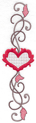 Embroidery Design: Floral Heart 112 9.69w X 2.64h