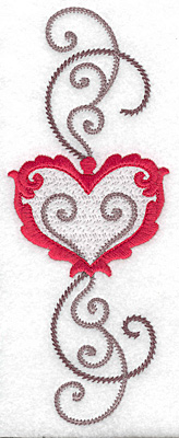 Embroidery Design: Floral Heart 113 2.67w X 6.95h