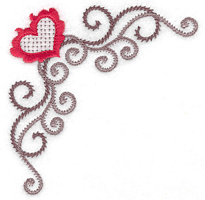 Embroidery Design: Floral Heart 115 corner 3.89w X 3.89h