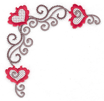 Embroidery Design: Floral Hearts 116 corner 4.97w X 4.97h