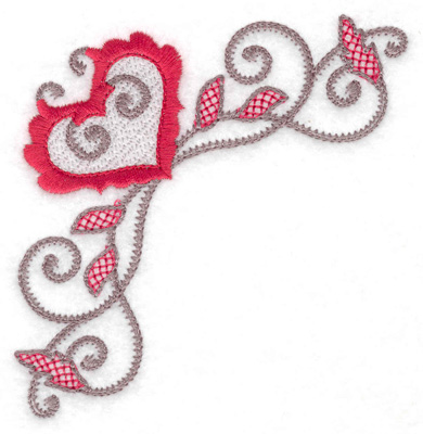 Embroidery Design: Floral Heart 117 corner small 3.88w X 3.88h