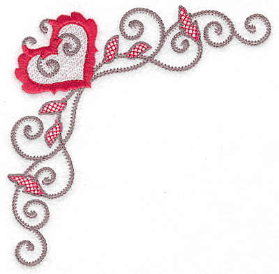 Embroidery Design: Floral Heart 118 corner large 4.97w X 4.97h