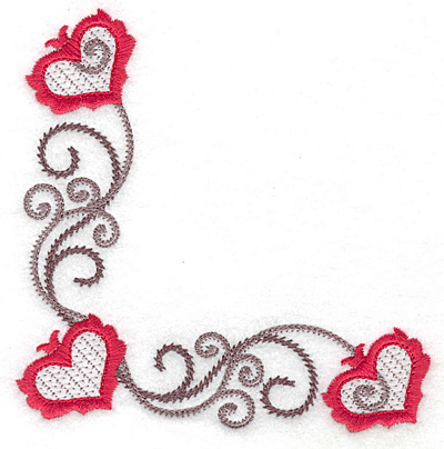 Embroidery Design: Floral Hearts 120 lower corner 4.93w X 4.95h