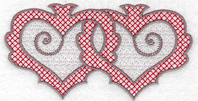 Embroidery Design: Hearts 127 with motif small 4.95w X 2.56h
