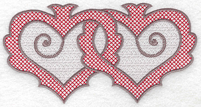Embroidery Design: Hearts 128 with motif large 6.93w X 3.58h