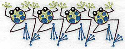 Embroidery Design: Frog B four in a row 6.96w X 2.60h
