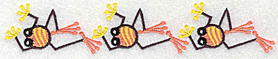 Embroidery Design: Frog D three in a row 6.98w X 1.35h