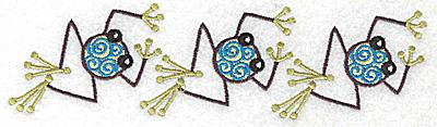 Embroidery Design: Frog H trio 6.97w X 1.91h