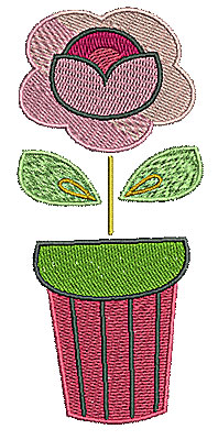 Embroidery Design: Flower in pot 1 2.07w X 4.67h