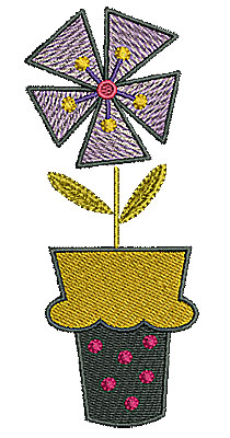 Embroidery Design: Flower in pot 2 1.98w X 4.77h