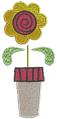 Embroidery Design: Flower in pot 3 2.18w X 4.82h