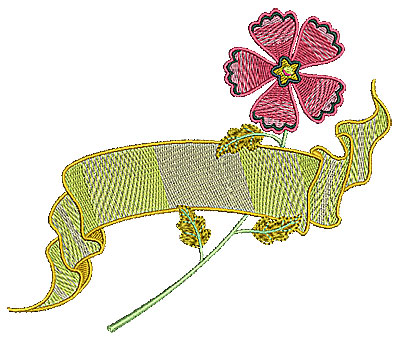 Embroidery Design: Flower with banner 5.93w X 5.00h