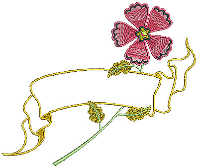 Embroidery Design: Flower with banner outline 5.93w X 5.00h