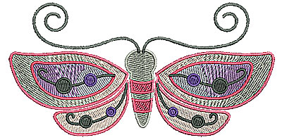 Embroidery Design: Butterfly with open wings 5.00w X 2.52h