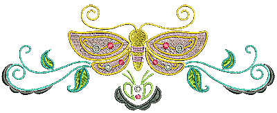 Embroidery Design: Butterfly with open wings banner 7.01w X 2.70h