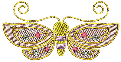 Embroidery Design: Butterfly cute 3.60w X 1.81h