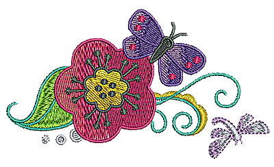 Embroidery Design: Butterfly on flower with vines 4.72w X 2.68h