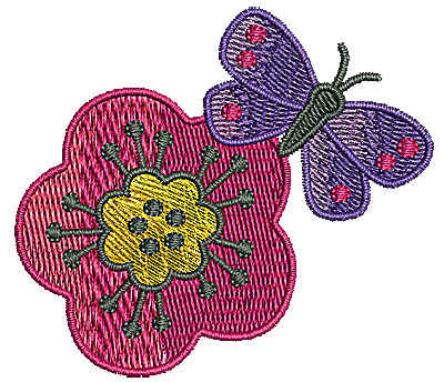 Embroidery Design: Butterfly on flower 2.74w X 2.40h