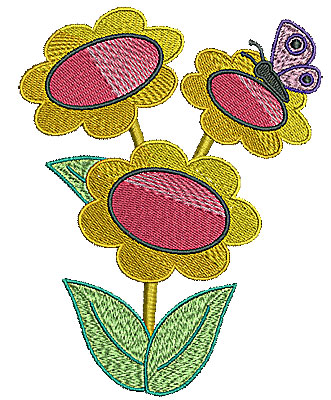 Embroidery Design: Butterfly on flower trio 4.67w X 5.98h