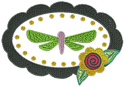 Embroidery Design: Dragonfly in frame with flower 6.30w X 4.35h
