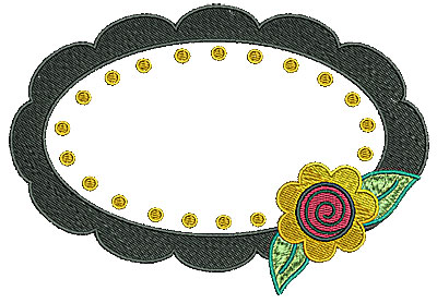 Embroidery Design: Frame with flower 6.30w X 4.35h