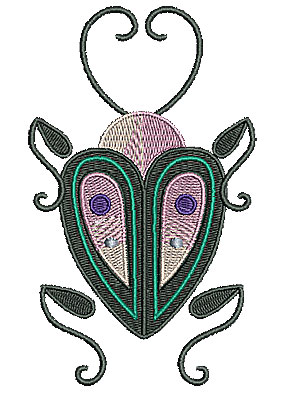 Embroidery Design: Floral bug 2.91w X 4.84h