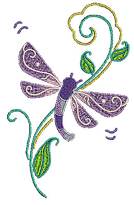 Embroidery Design: Dragonfly with vine 4.07w X 6.50h
