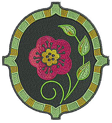 Embroidery Design: Flower in frame 5.02w X 5.54h