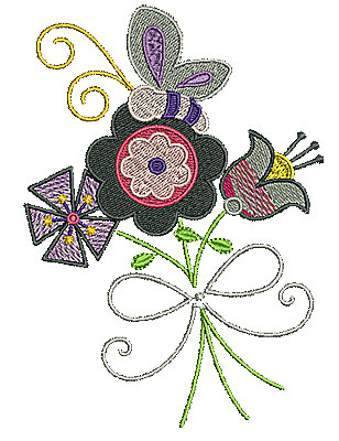 Embroidery Design: Flowers with butterfly and ribbon 4.27w X 5.98h