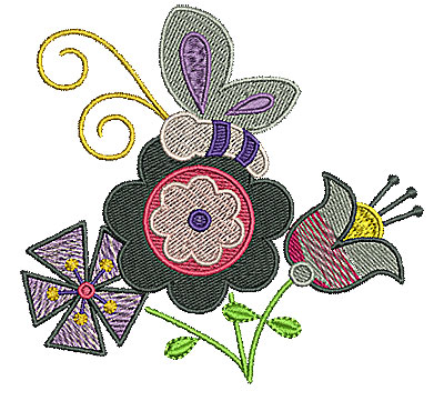 Embroidery Design: Flowers with butterfly 4.27w X 4.00h