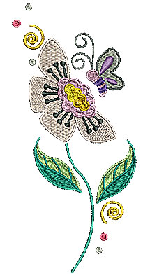 Embroidery Design: Flower with butterfly 3.21w X 6.97h