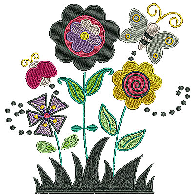 Embroidery Design: Butterfly in garden with flowers 5.98w X 6.13h
