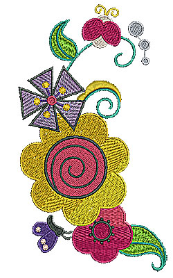 Embroidery Design: Flowers  3.93w X 7.05h