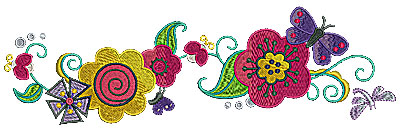 Embroidery Design: Flower trail with butterfly 9.94w X 2.97h