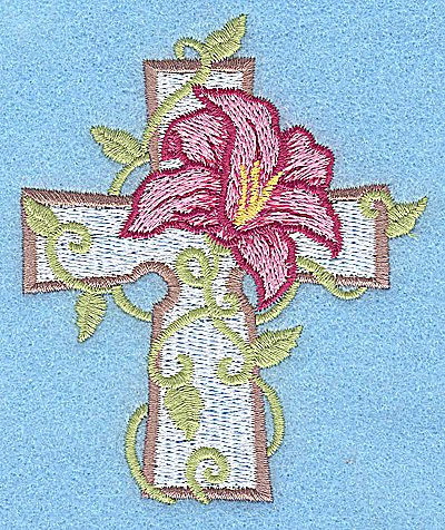 Embroidery Design: Cross with lily small 3.17w X 3.76h