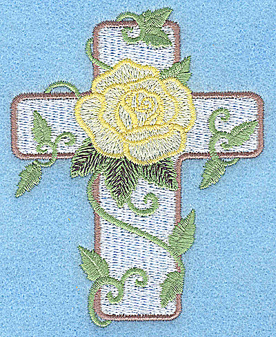 Embroidery Design: Cross with rose small 3.06w X 3.87h