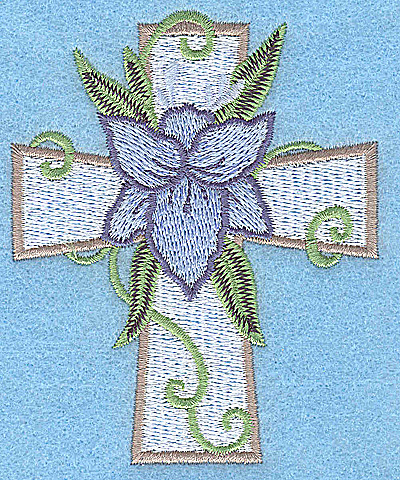 Embroidery Design: Cross with blue flower small 3.09w X 3.83h