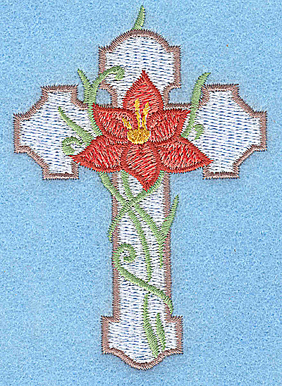 Embroidery Design: Cross with orange flower small 2.65w X 3.81h