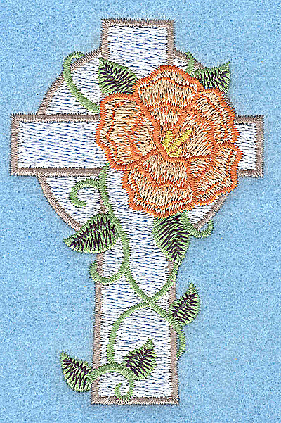 Embroidery Design: Cross with peach flower small 2.54w X 3.87h