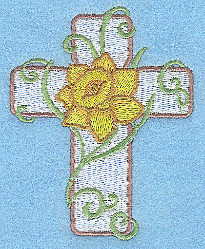 Embroidery Design: Cross with daffodil small 3.03w X 3.86h