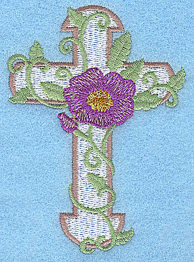 Embroidery Design: Cross with pansy small 2.75w X 3.85h