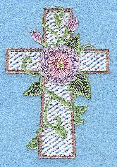Embroidery Design: Cross with mave and pink flower small 2.56w X 3.78h