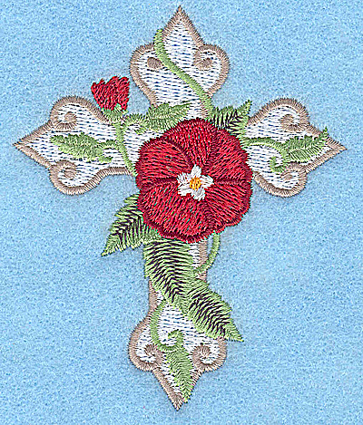 Embroidery Design: Cross with poppy small 3.14w X 3.82h