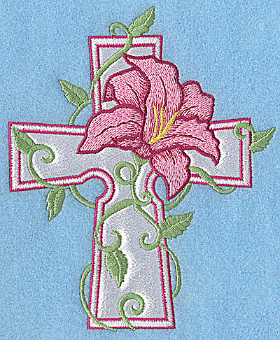 Embroidery Design: Cross applique with lily 5.98w X 4.97h