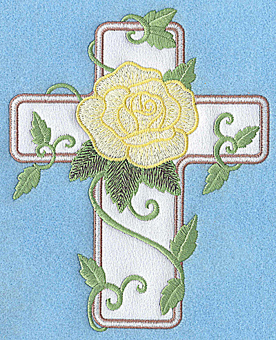 Embroidery Design: Cross applique with rose 6.22w X 4.95h