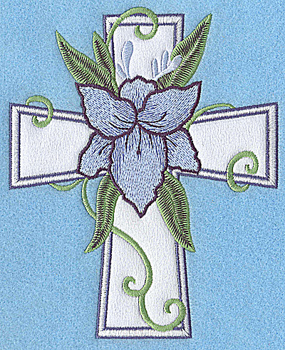 Embroidery Design: Cross applique with blue flower 6.01w X 4.87h