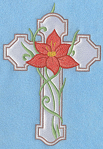 Embroidery Design: Cross applique with orange flower 6.88w X 4.75h