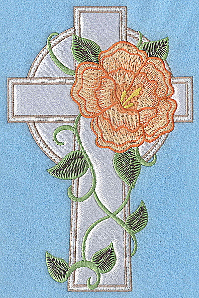 Embroidery Design: Cross applique with peach flower 6.91w X 4.54h